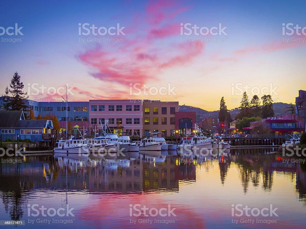 Petaluma Harbor Reflections stock photo