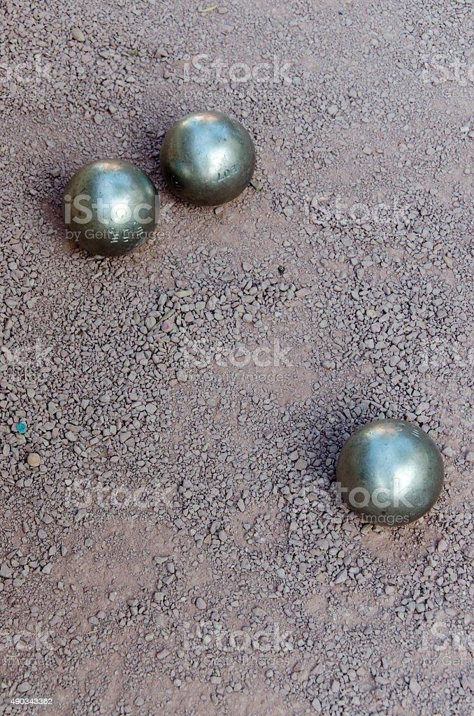 Petanque boules bawls stock photo