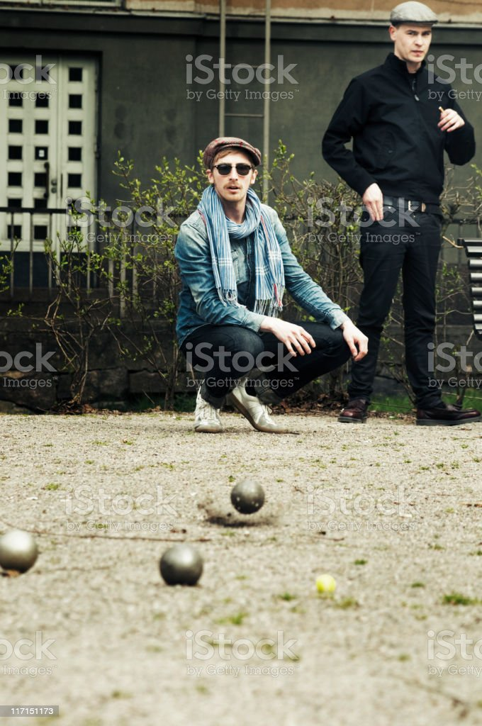 Petanque game stock photo