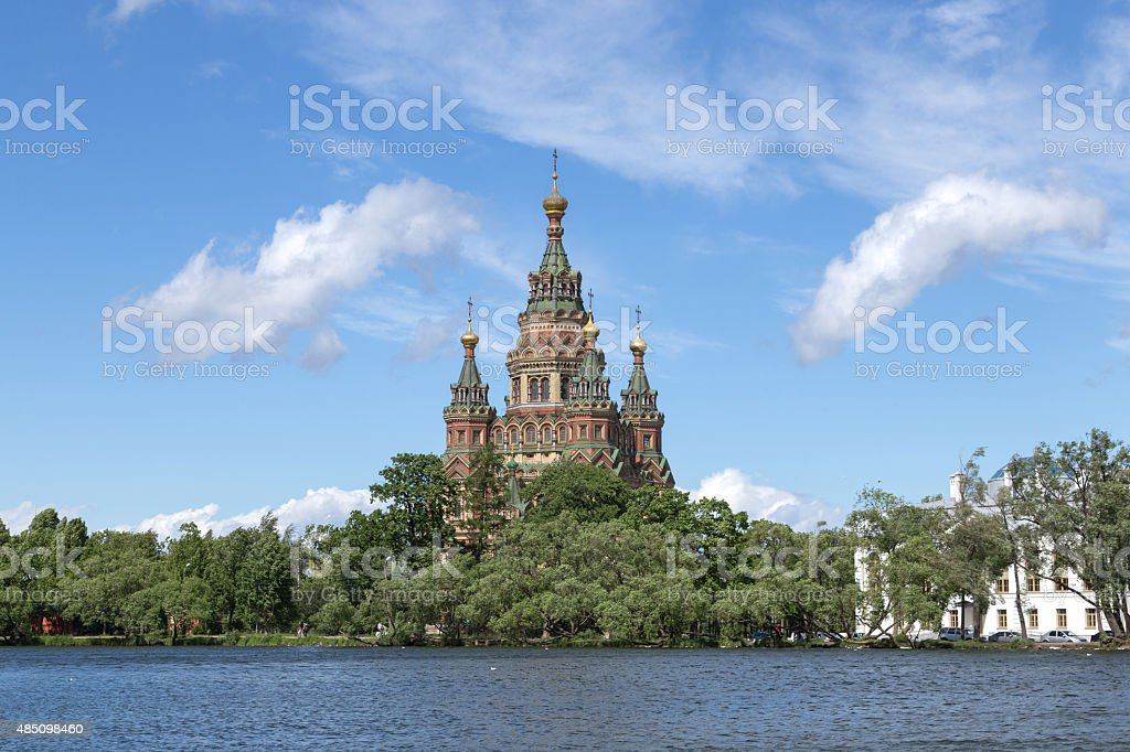 Peter and Paul Cathedral in Peterhof, Russia stock photo