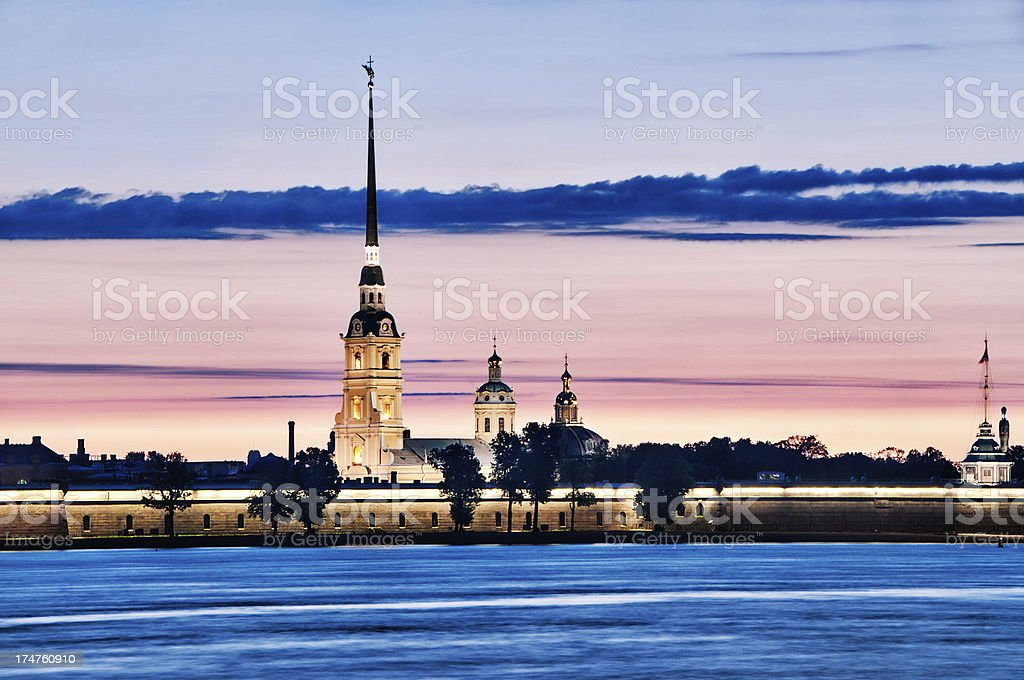 Peter and Paul Cathedral in Saint Petersburg at Sunset stock photo