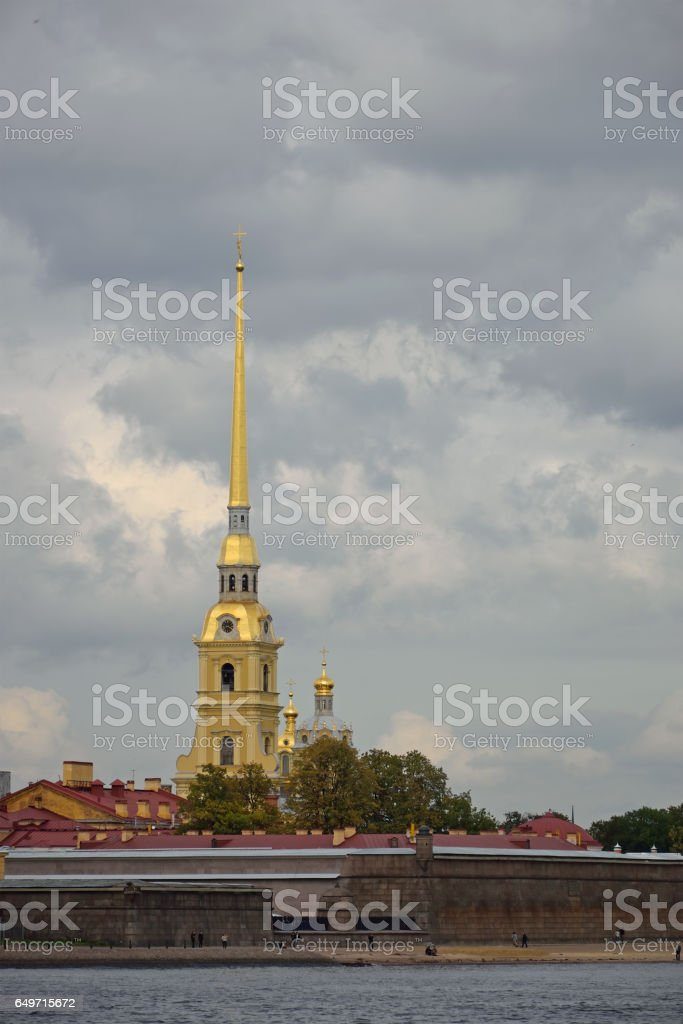 Peter and Paul fortress and the Neva river under the beautiful g stock photo