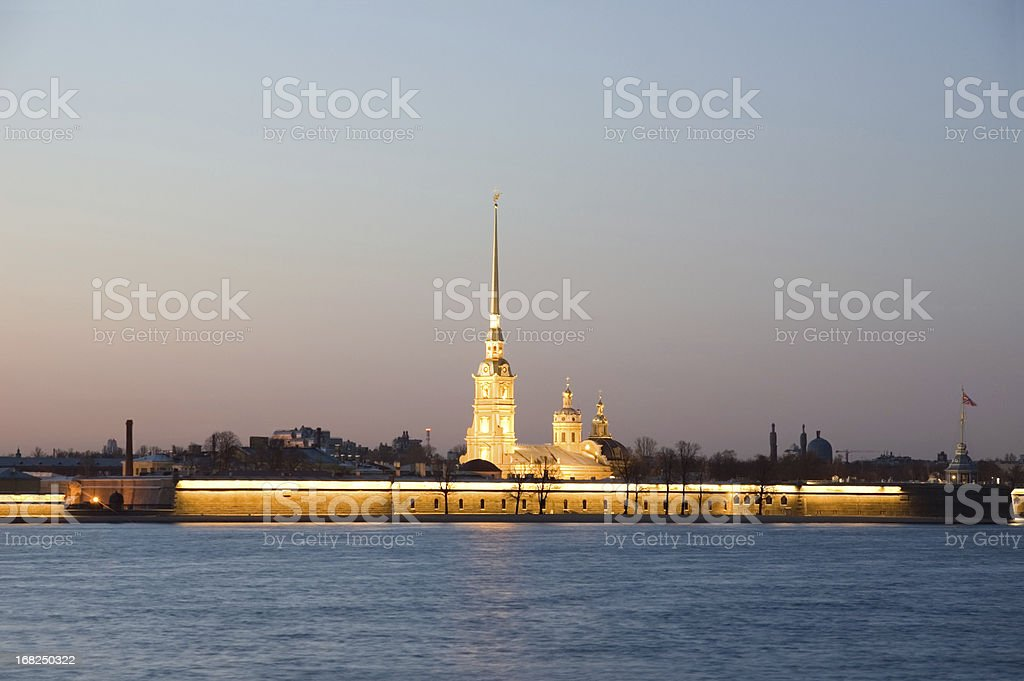 Peter and Paul Fortress at night St Petersburg Russia stock photo
