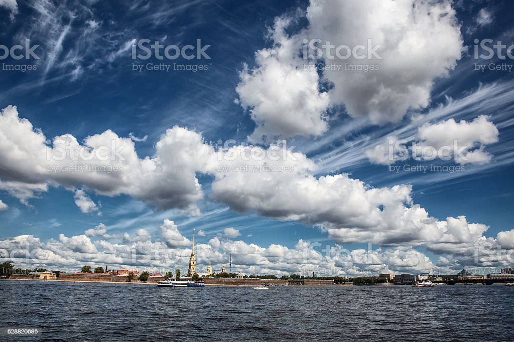 Peter and Paul fortress in summer day in Saint-Petersburg stock photo