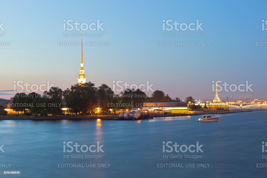Peter and Paul Fortress summer night in St. Petersburg stock photo