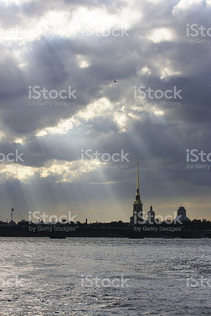 Peter and Paul fortress with dramatic clouds (St. Petersburg, Russia). royalty-free stock photo