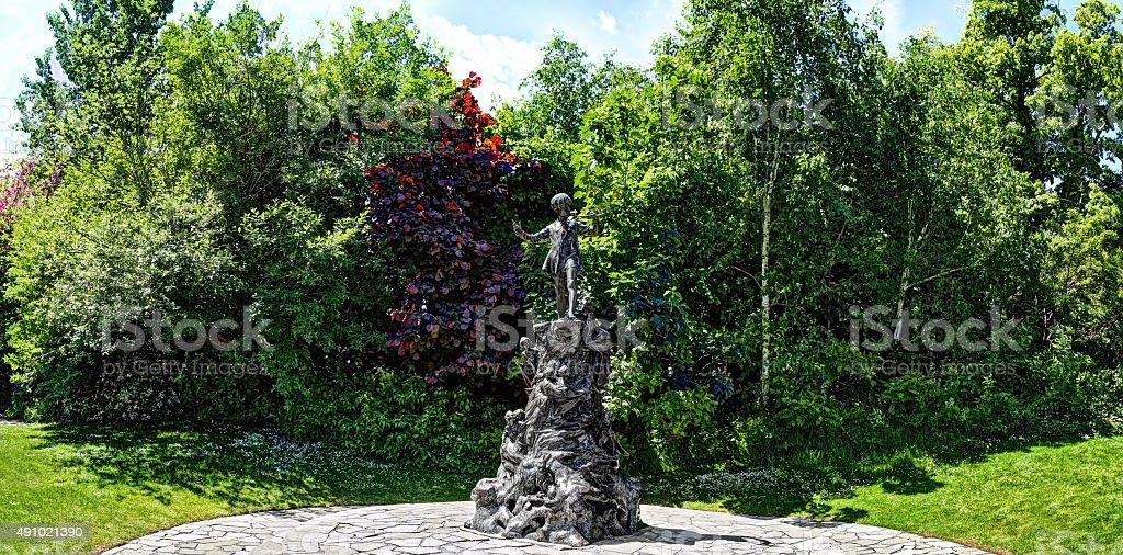 Peter Pan statue in Kensington Gardens stock photo
