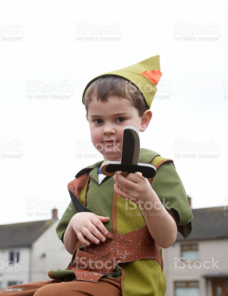 Peter Pan young boy dressed up stock photo