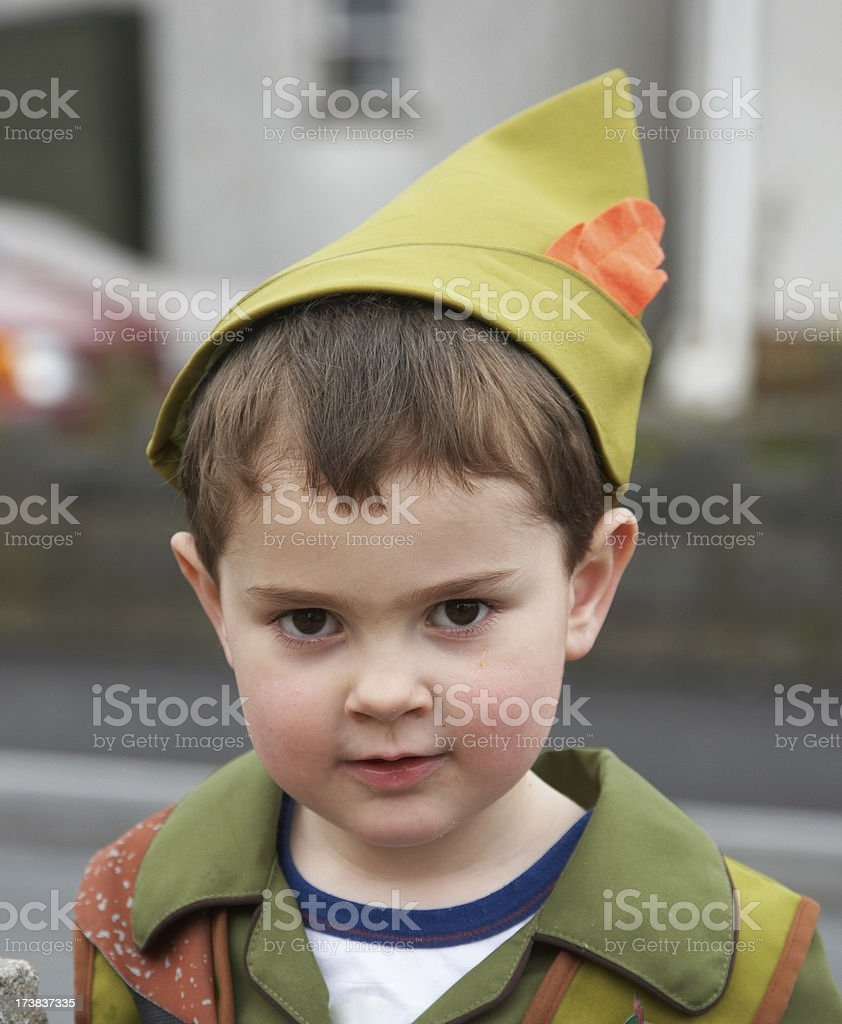 Peter Pan young boy dressed up royalty-free stock photo