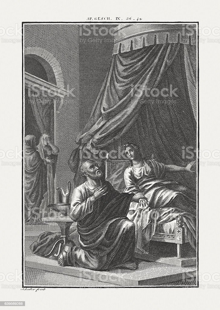 Peter Raises Tabitha (Acts 9), copper engraving, published c. 1850 stock photo