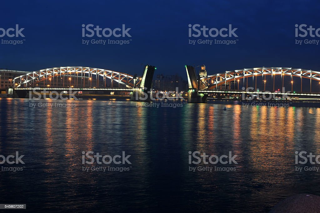 Peter the Great Bridge at night (Bolsheokhtinsky Bridge) stock photo