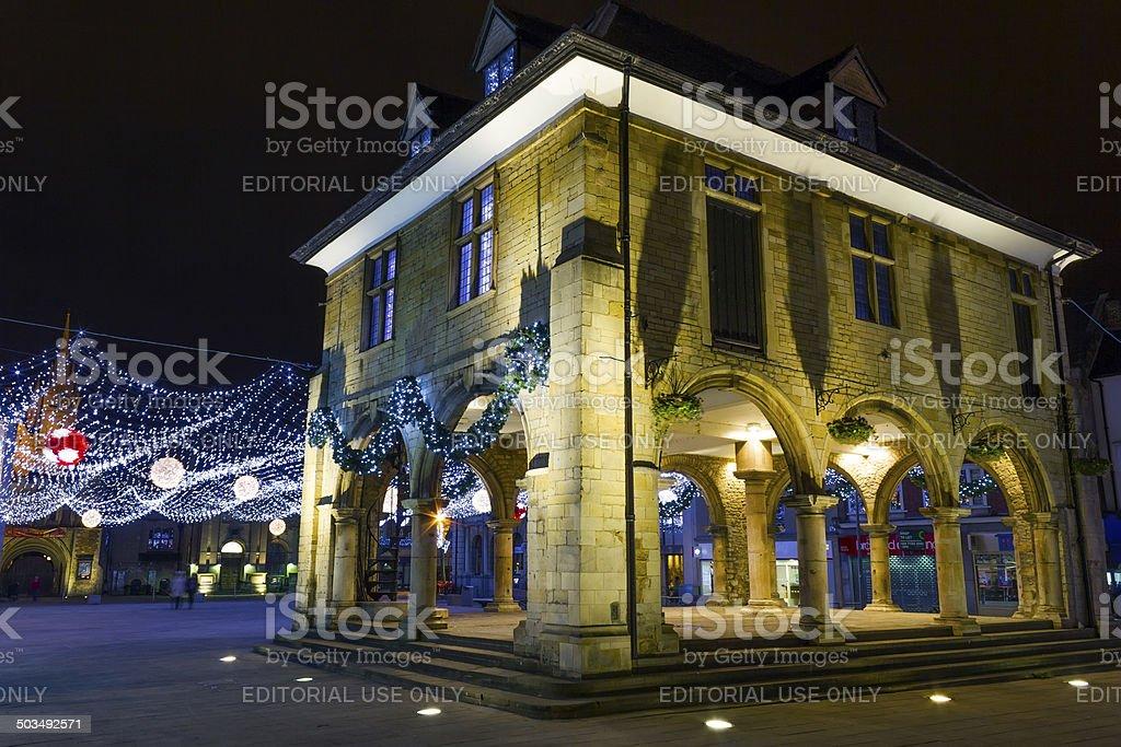 Peterborough at night, England stock photo