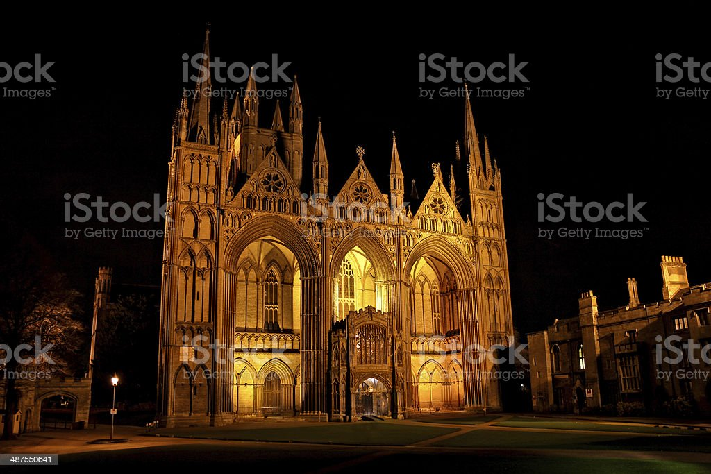Peterborough Cathedral at night, England stock photo