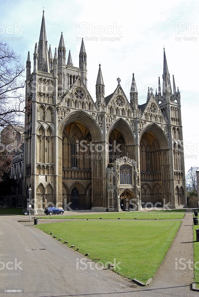 Peterborough Cathedral, England. stock photo
