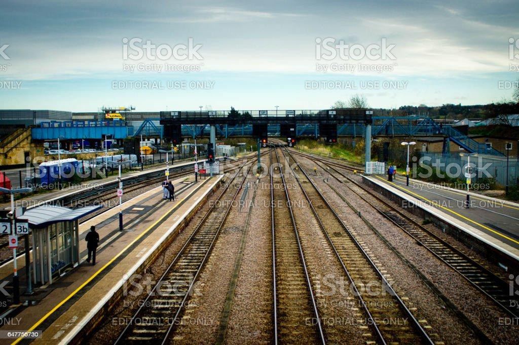 Peterborough rail track stock photo