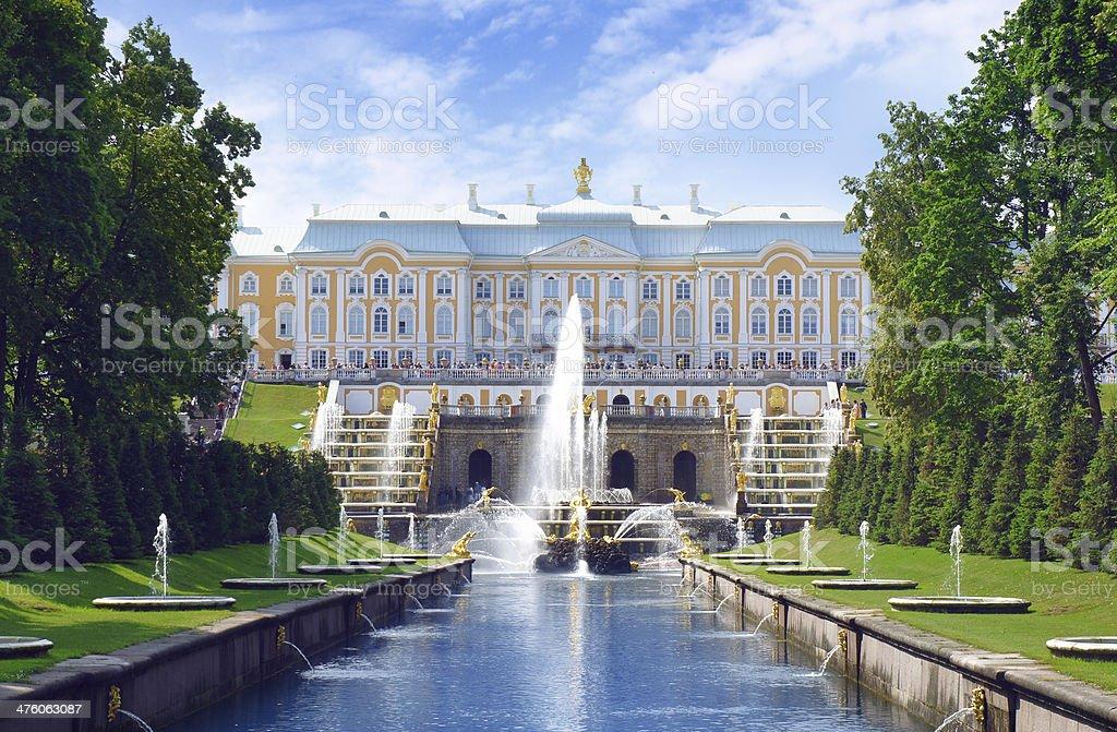 Peterhof park of Saint Petersburg stock photo