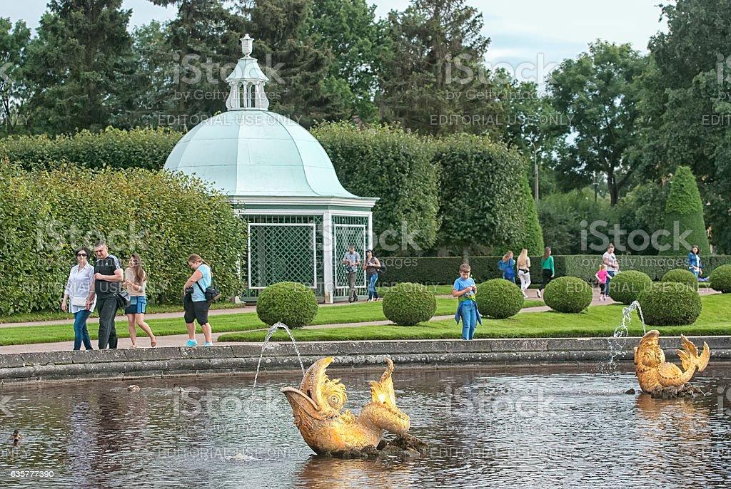 Peterhof. Russia. People in The Upper Garden stock photo