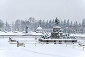 Peterhof. Russia. The Upper Garden in winter period