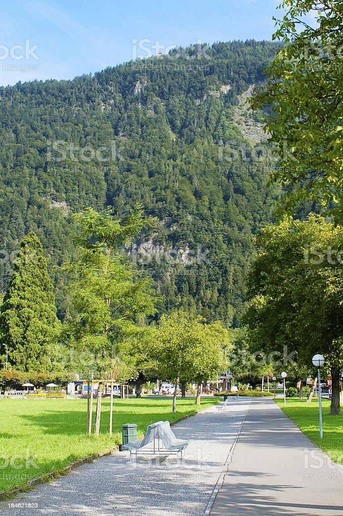 Peter-Ober-Allee in Interlaken stock photo