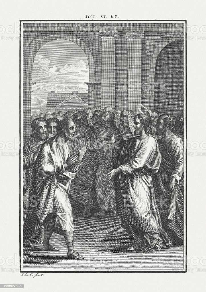 Peter's Confession (John 6, 68-69), copper engraving, published c. 1850 stock photo