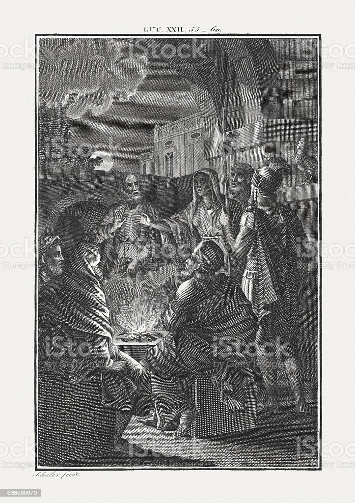 Peter's Denials (Luke 22), copper engraving, published c. 1850 stock photo