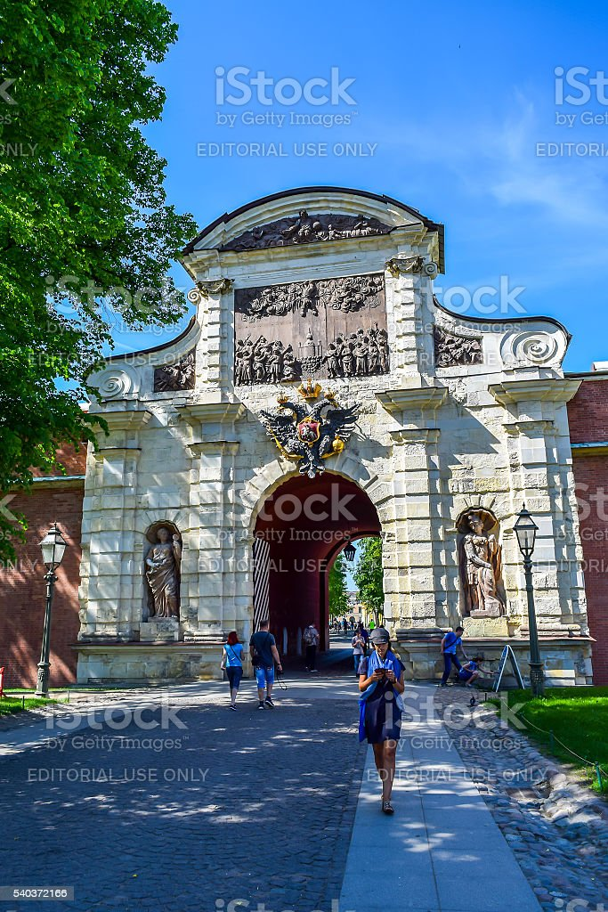 Peter's Gate in Peter and Paul fortress stock photo