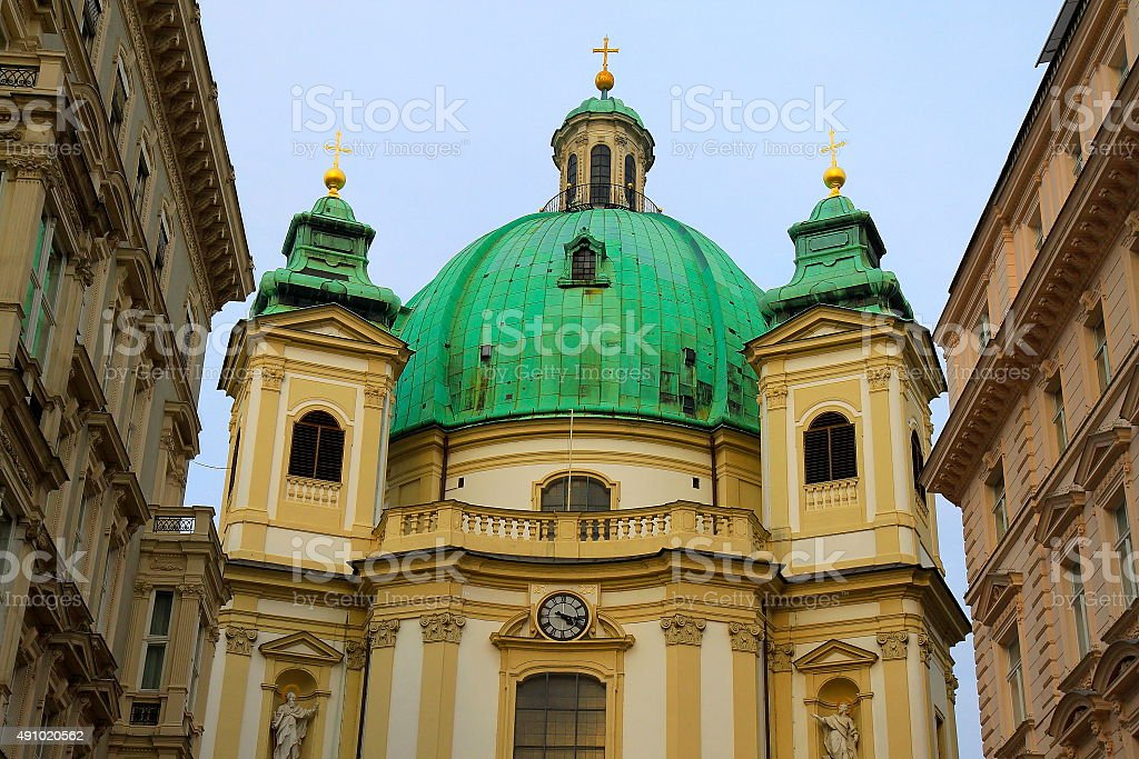 Peterskirche cupola, gold crosses from Graben, Vienna, Austria stock photo