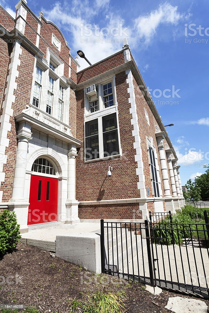 Peterson Elementary School Entrance in North Park, Chicago stock photo