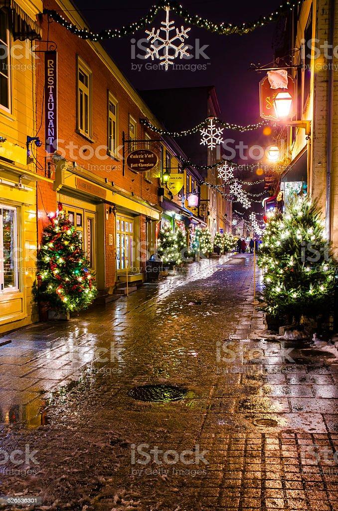 Petit Champlain by night stock photo