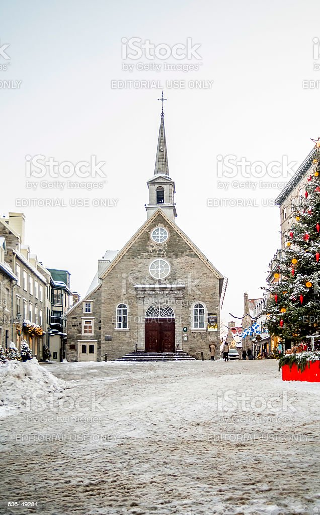 Quartier Petit Champlain, hiver stock photo