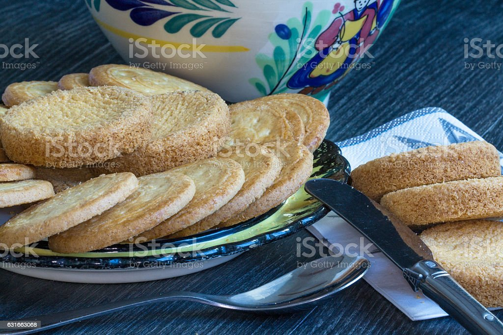 Petit déjeuner avec galettes et palets bretons stock photo
