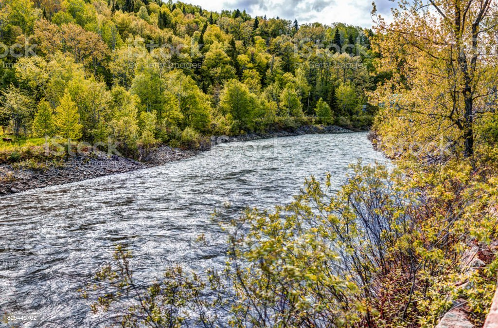 Petit Saguenay river in Quebec, Canada during autumn stock photo