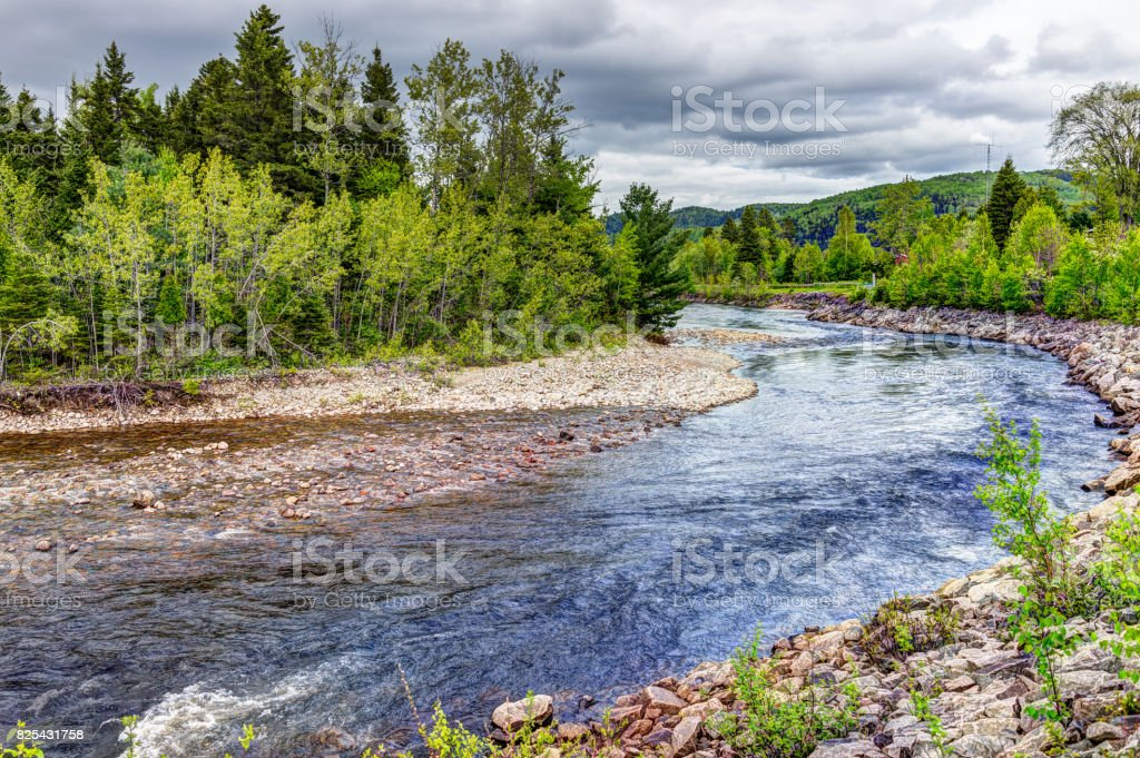 Petit Saguenay river in Quebec, Canada during bright green summer with curve stock photo