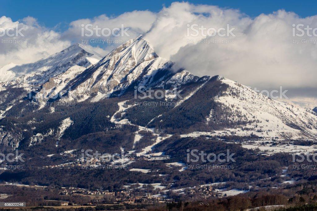 Petite and Grande Autane in winter, Champsaur, Alps, France stock photo