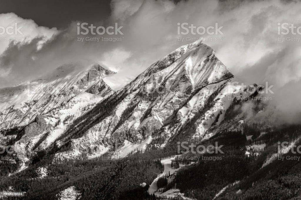 Petite and Grande Autane in Winter, Champsaur, Alps, France (Black & White) stock photo