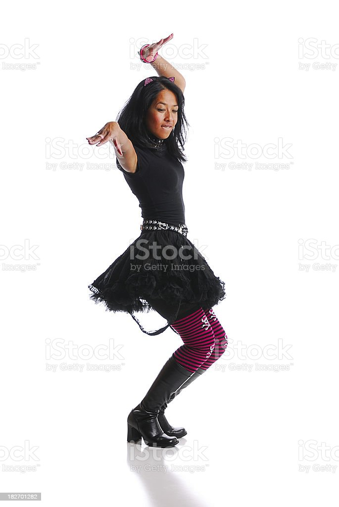Petite cat girl dancing against white background royalty-free stock photo