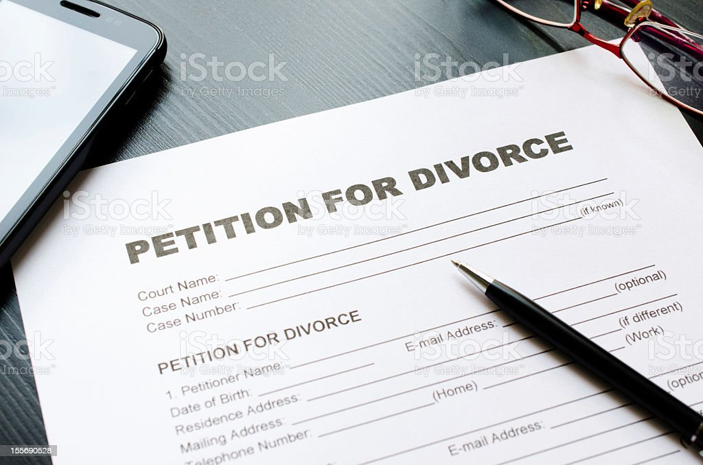 petition for divorce stock photo