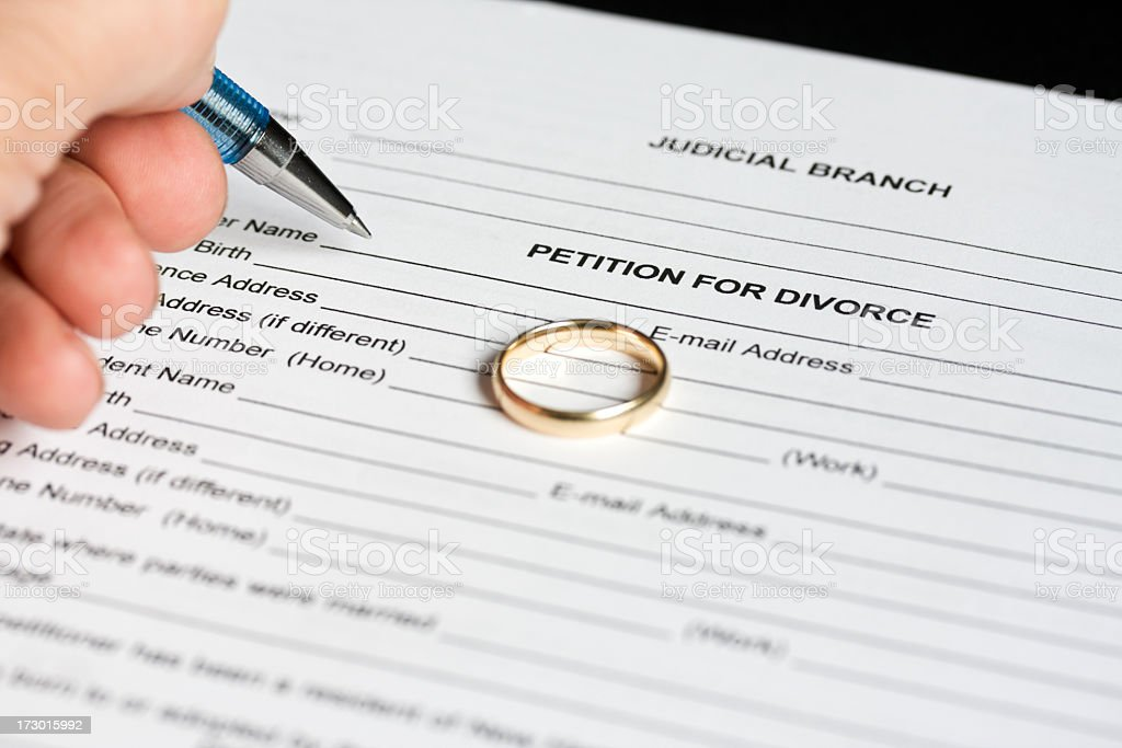 Petition for divorce. stock photo