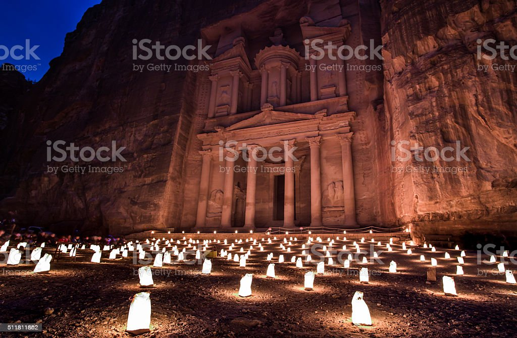 Petra by Night in Jordan stock photo