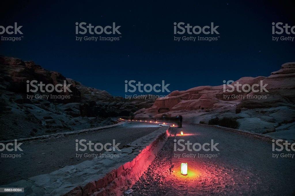 Petra, Jordan at Night stock photo