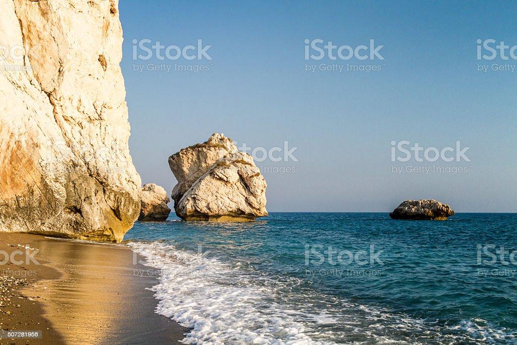 Petra tou Romiou or Aphrodite's Rock, Cyprus stock photo