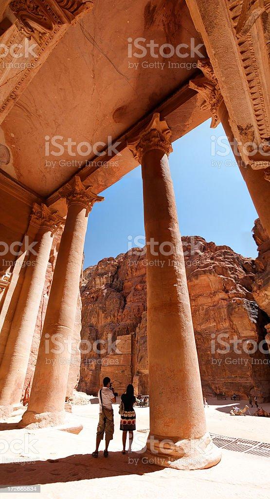 Petra tourists royalty-free stock photo