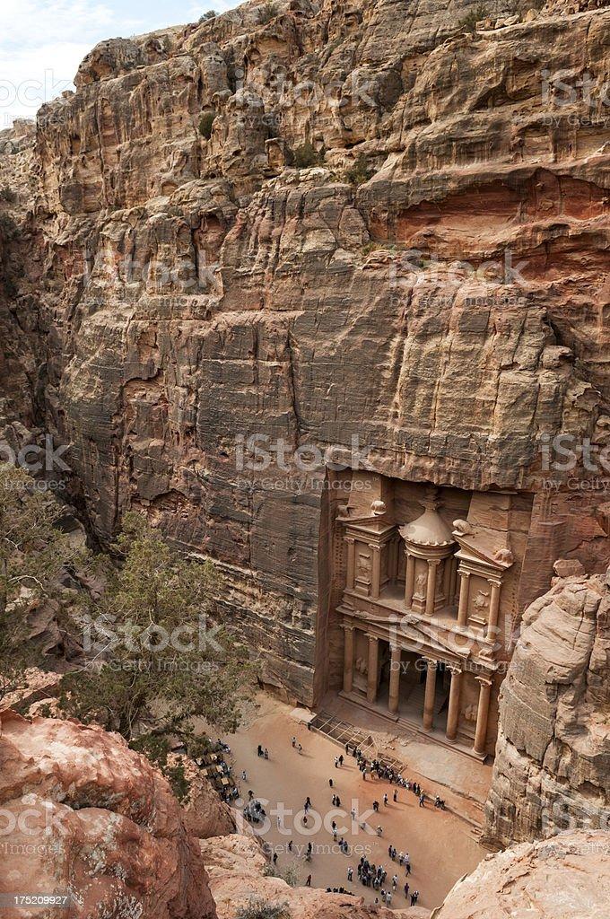 Petra's Treasury and tourists - high angle view royalty-free stock photo