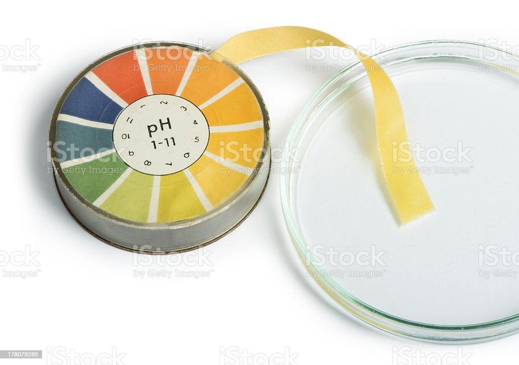 Petri dish and pH test tape set stock photo