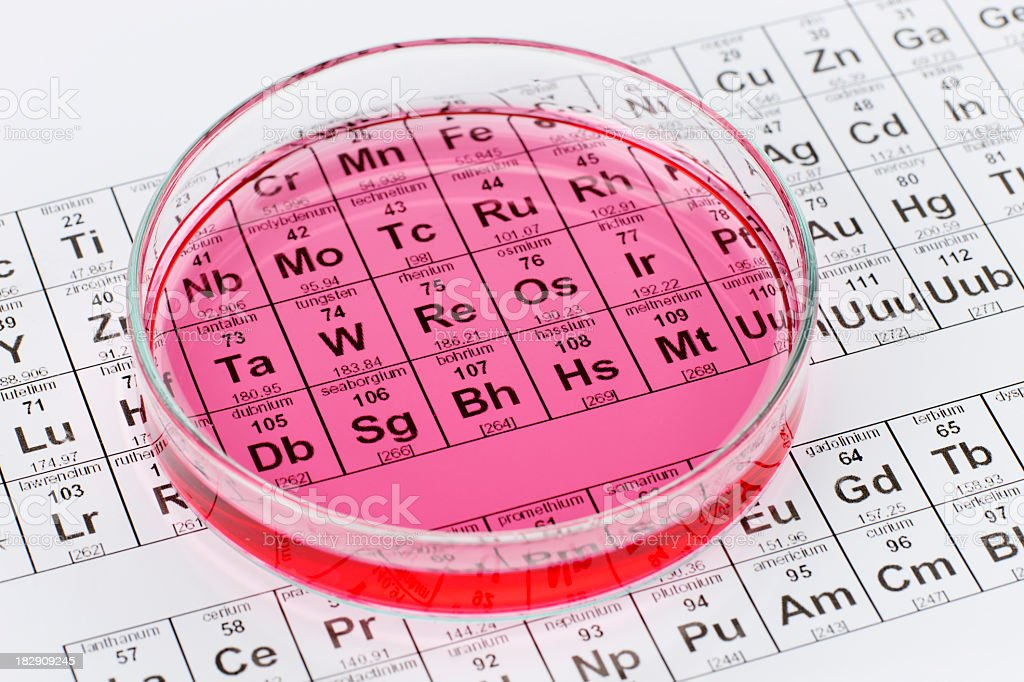 Petri dish with pink serum atop Periodic Table of Elements royalty-free stock photo