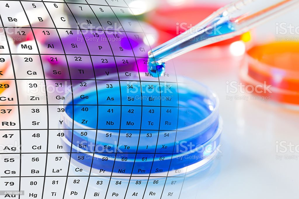 Petri dishes being filled with colored liquid stock photo