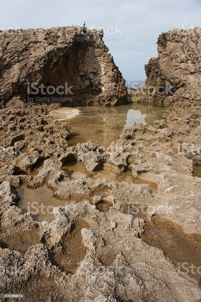 Petrified dune at Eersterivier Beach in South Africa stock photo