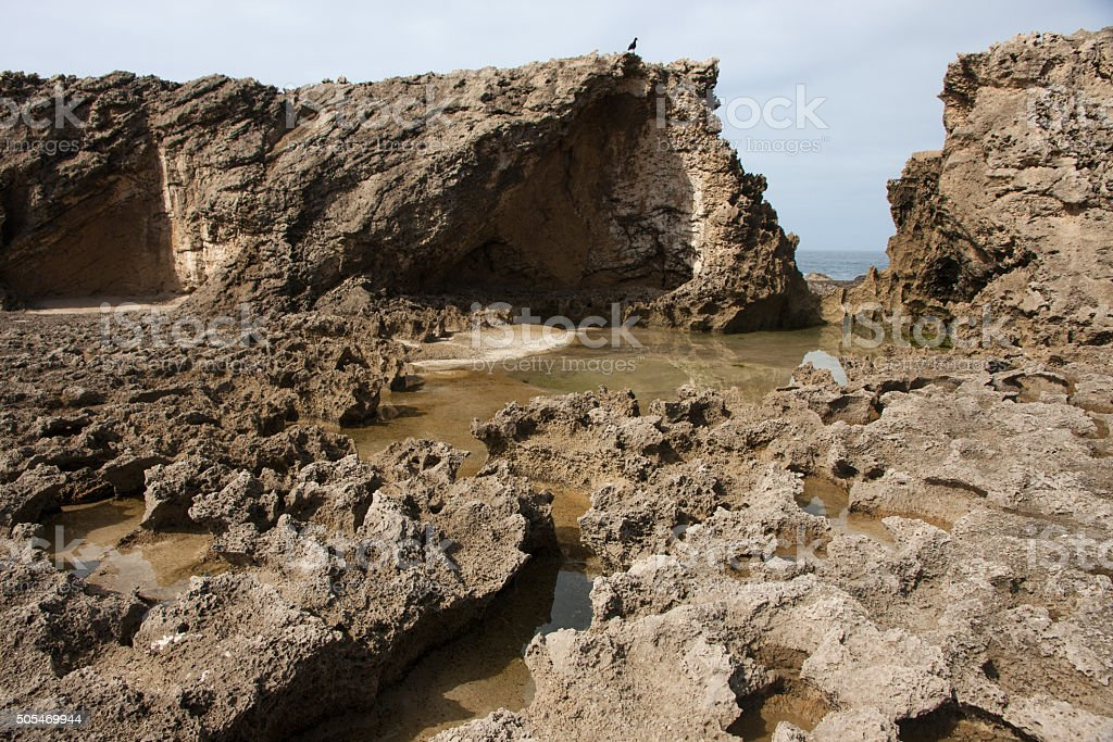 Petrified dunes at Eersterivier Beach in South Africa stock photo