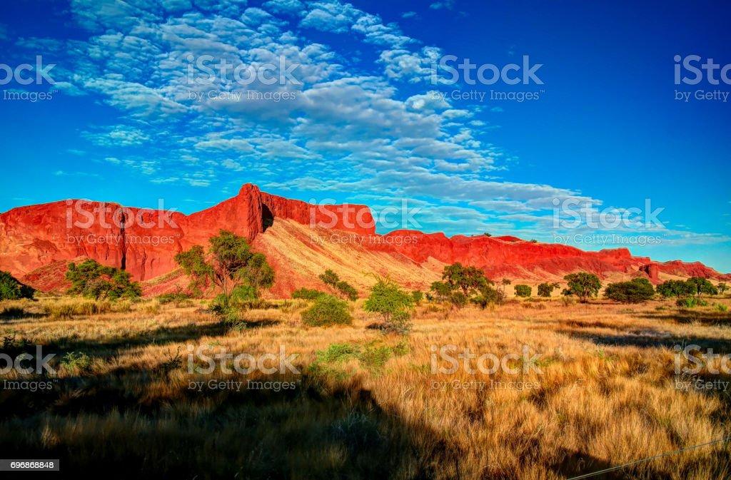 Petrified dunes at the sunrise at Namib desert, Namibia stock photo