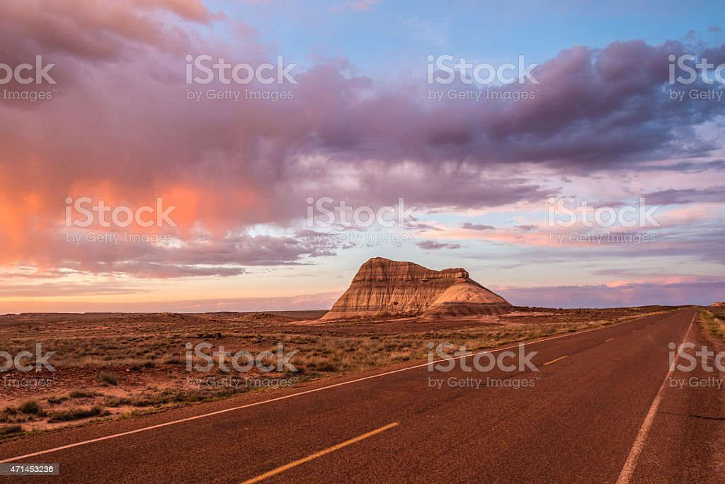 Petrified Forest Road stock photo
